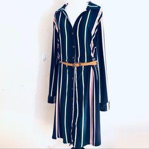 Derek Heart Plus Vertical Stripe Button Down Dress